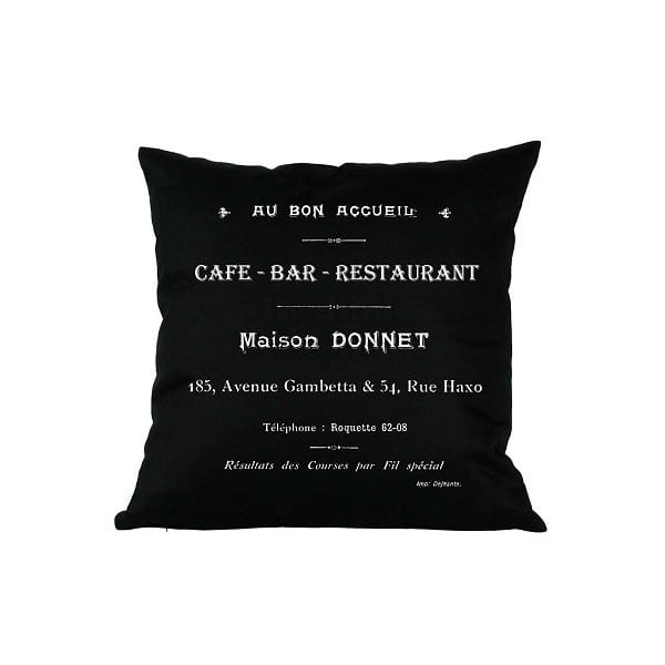 Poduszka ozdobna CAFE BAR czarna 43 x43 cm 22