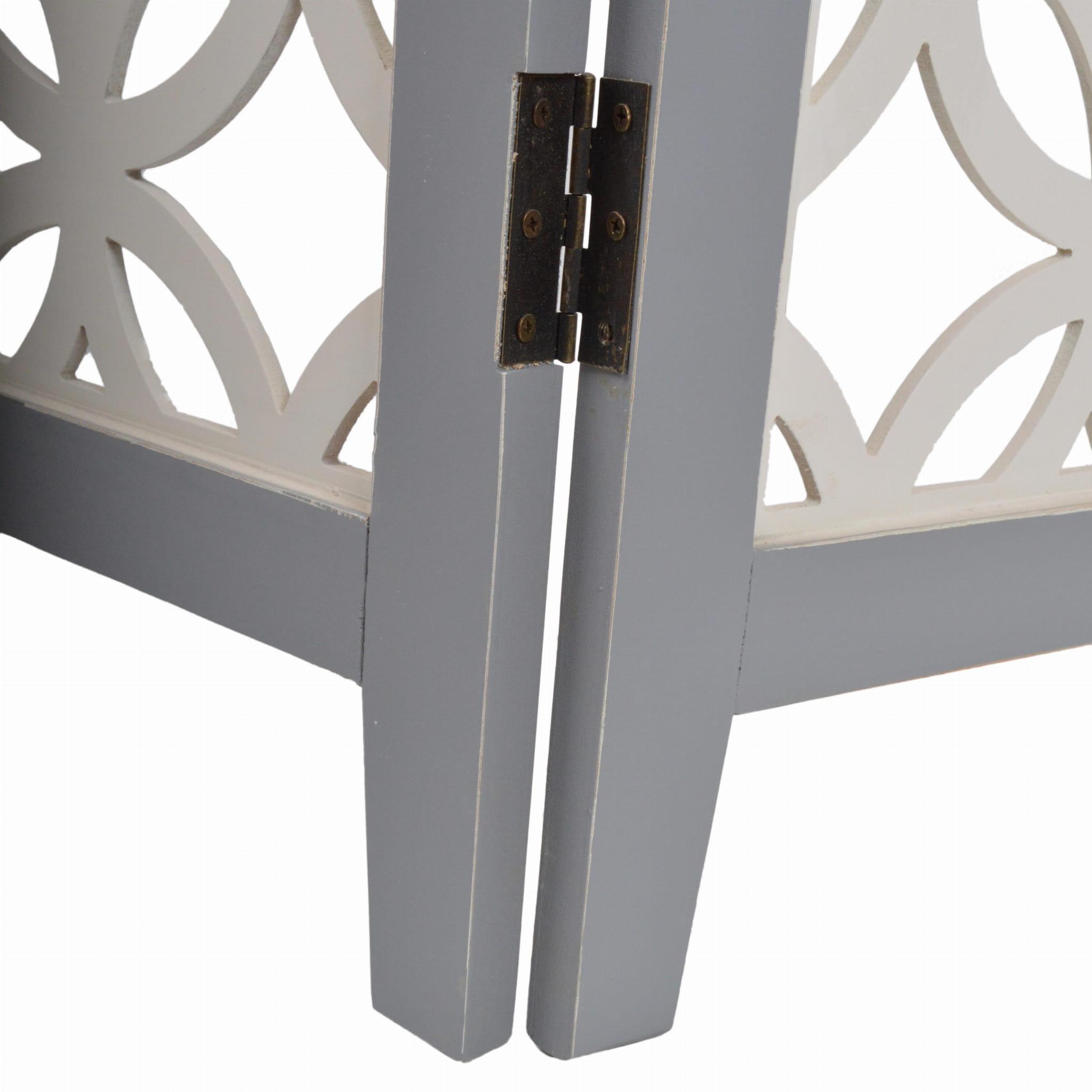 Parawan przecierany ażurowy szaro- biały 120x2,2x180 cm 24