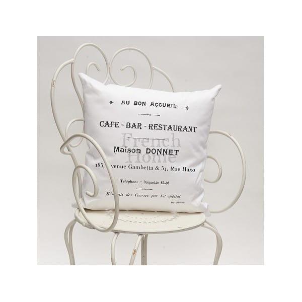 Poduszka ozdobna CAFE BAR biała 43 x43 cm 24