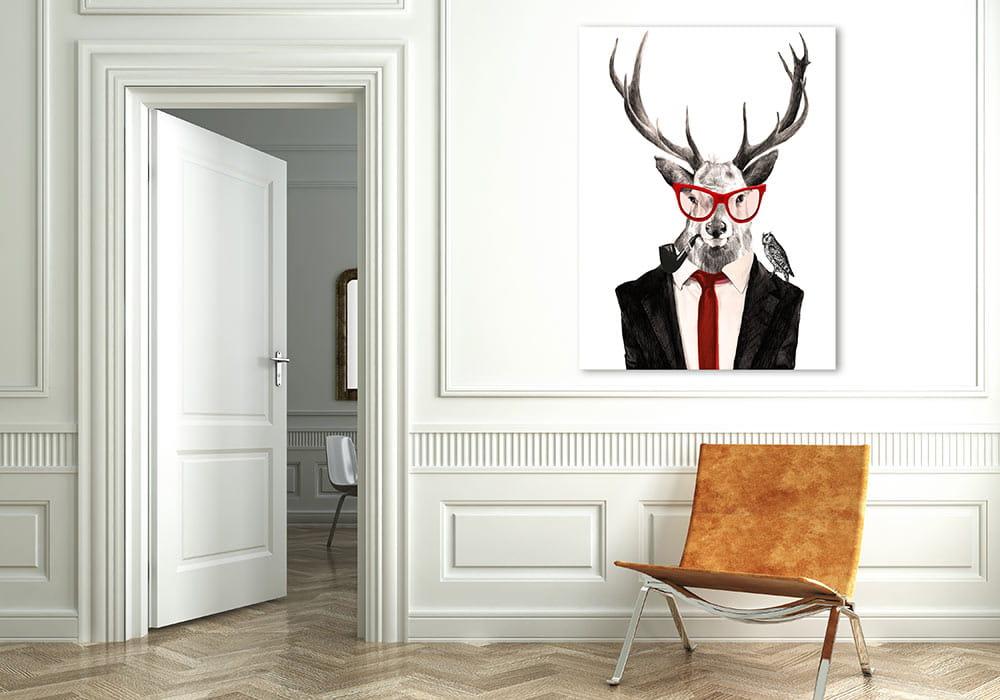 Obraz/ grafika na płótnie Mr Jeleń z fajką 80x60x2 cm 22