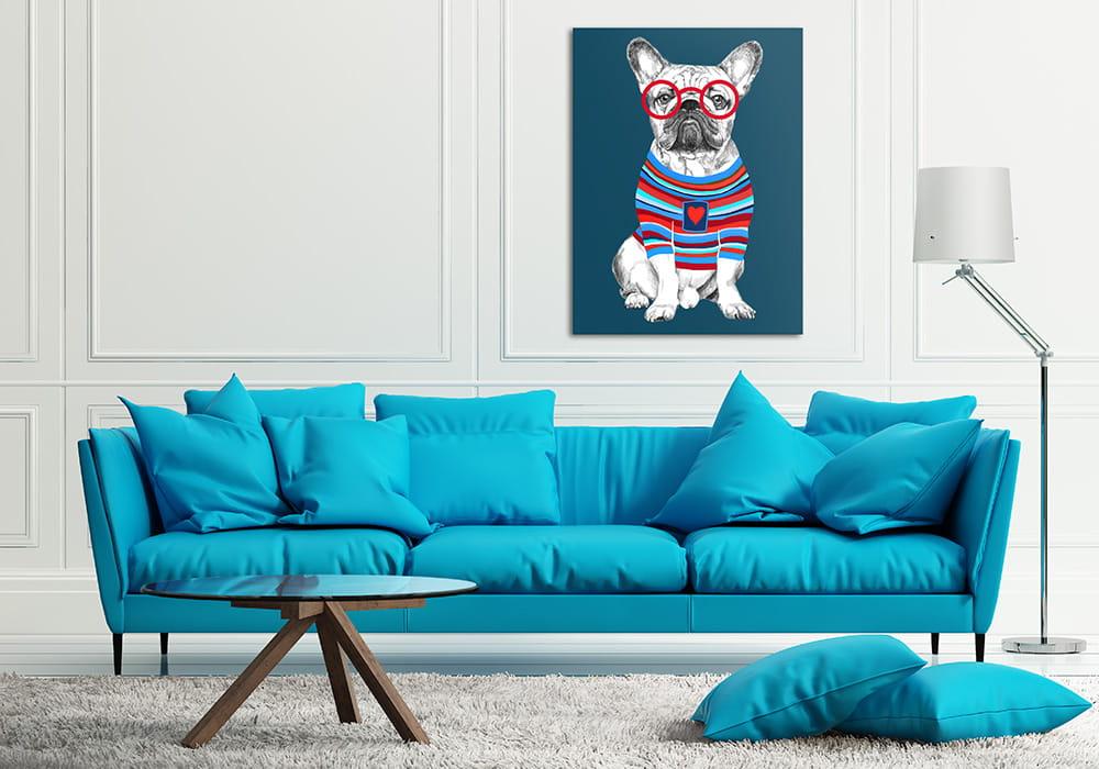 Obraz/ grafika na płótnie Buldog francuski w sweterku 80x60x2 cm 22