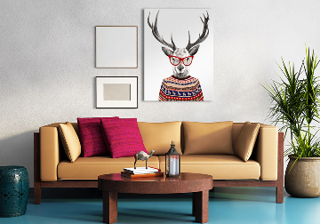 Obraz/ grafika na płótnie Jeleń w sweterku 80x60 cm 23