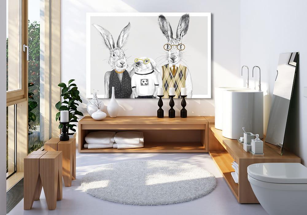 Obraz/ grafika na płótnie z motywem rodziny zajęcy 23