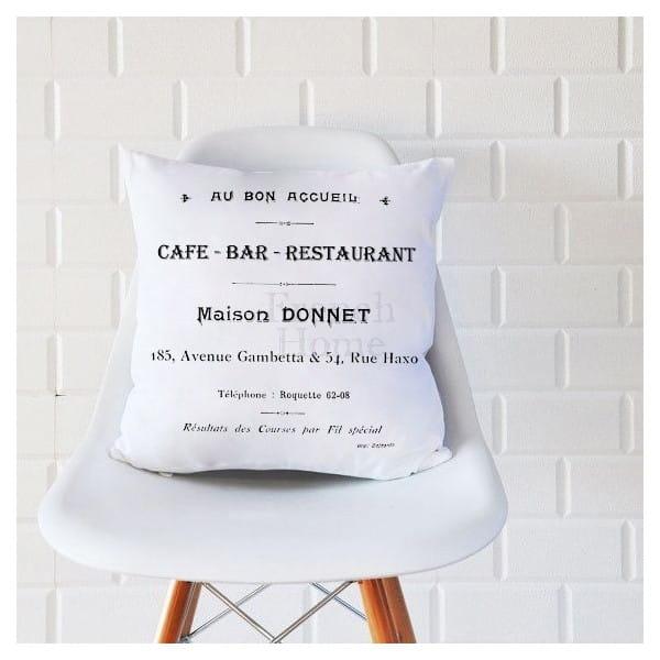Poduszka ozdobna CAFE BAR biała 43 x43 cm 23