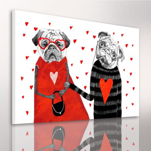 Obraz/ grafika na płótnie zakochane mopsy 24