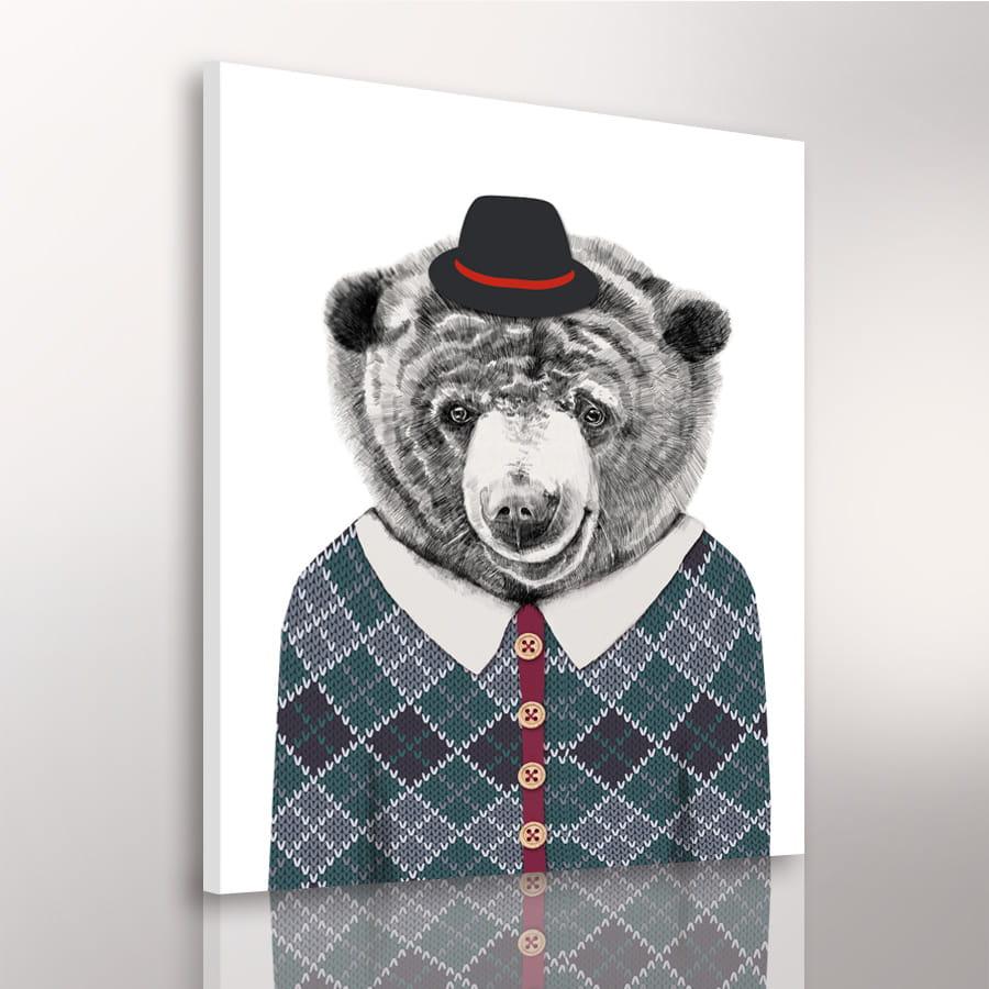 Obraz/ grafika na płótnie z motywem niedźwiedzia 80x60x2 cm 22