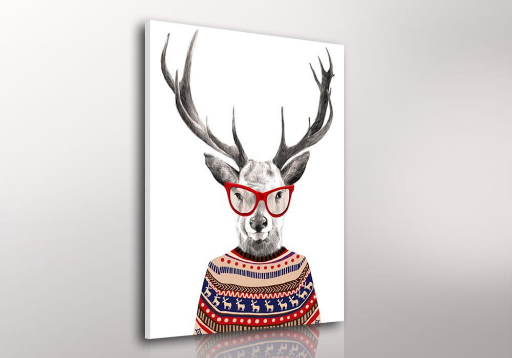 Obraz/ grafika na płótnie Jeleń w sweterku 80x60 cm 22