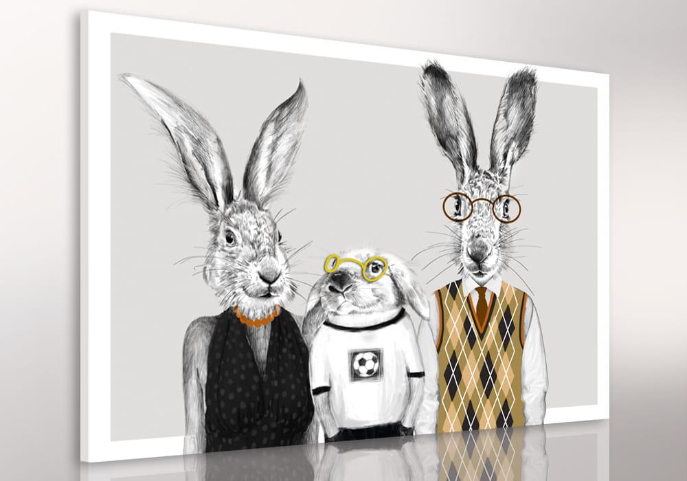 Obraz/ grafika na płótnie z motywem rodziny zajęcy 24