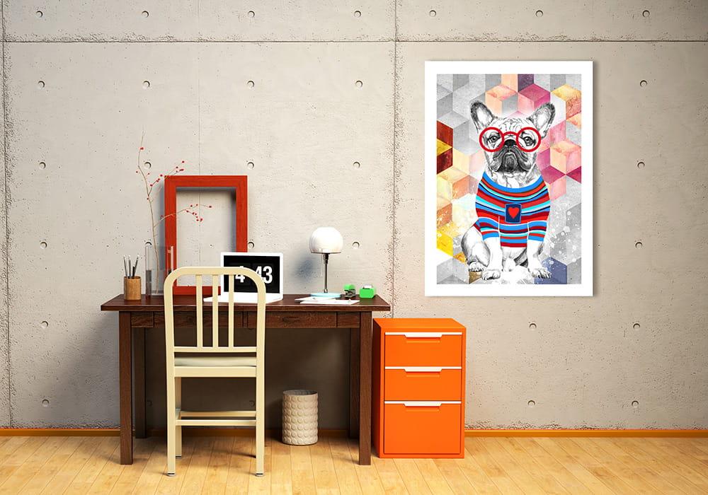Obraz/ grafika na płótnie Buldog francuski w sweterku 70x50x2 cm 23