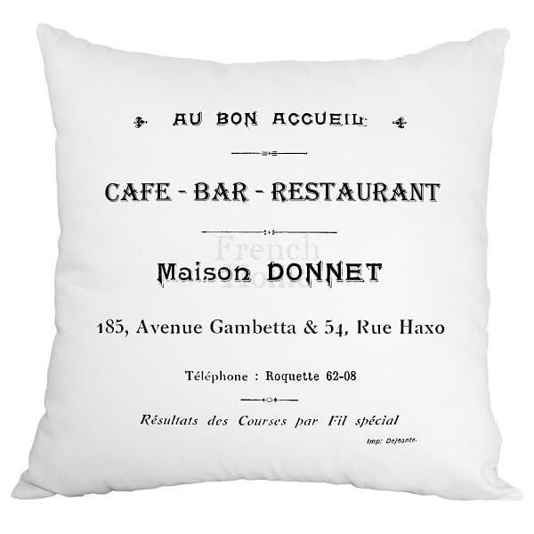 Poduszka ozdobna CAFE BAR biała 43 x43 cm 22