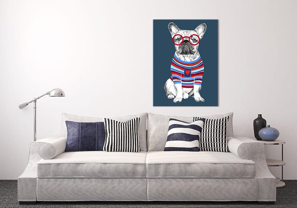 Obraz/ grafika na płótnie Buldog francuski w sweterku 80x60x2 cm 23