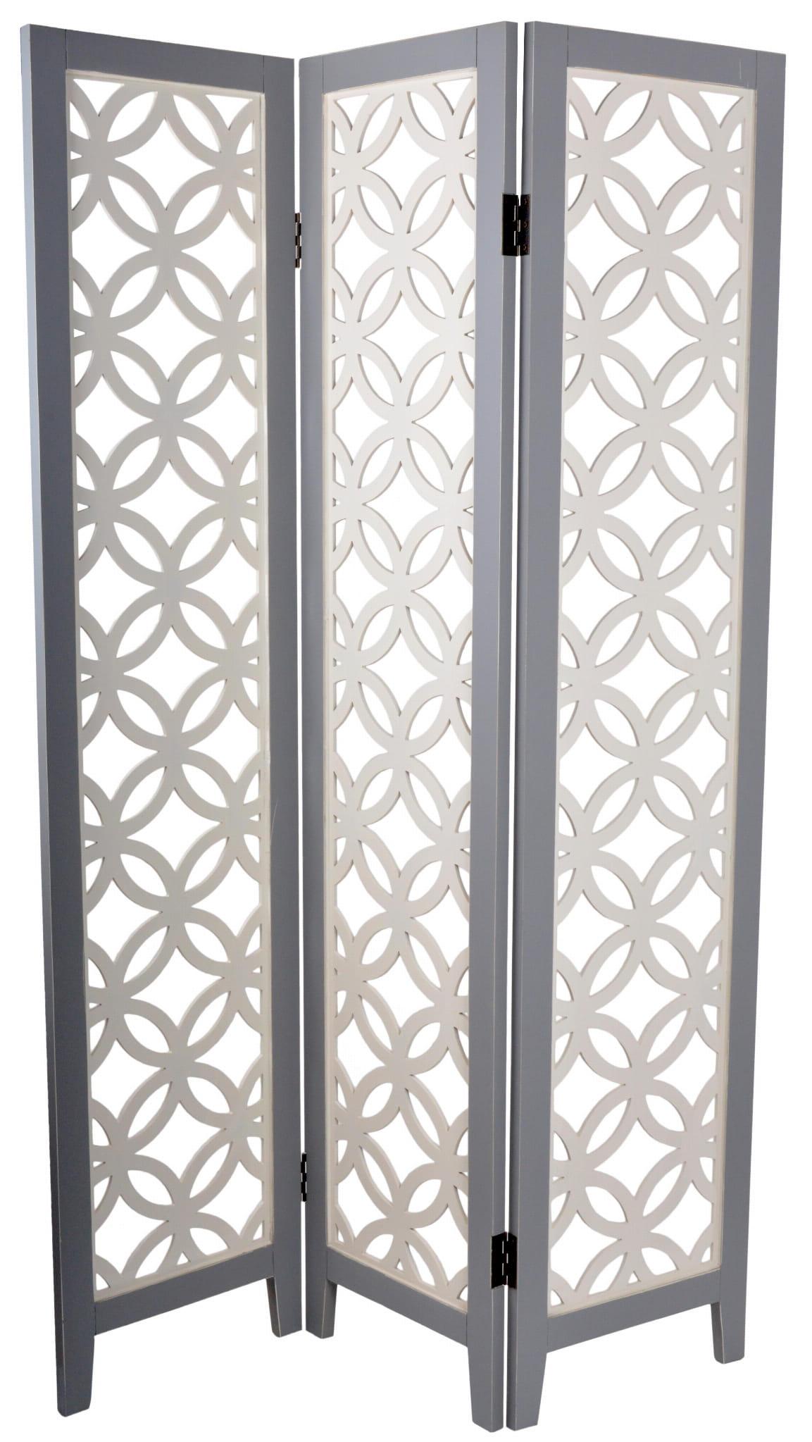 Parawan przecierany ażurowy szaro- biały 120x2,2x180 cm 22