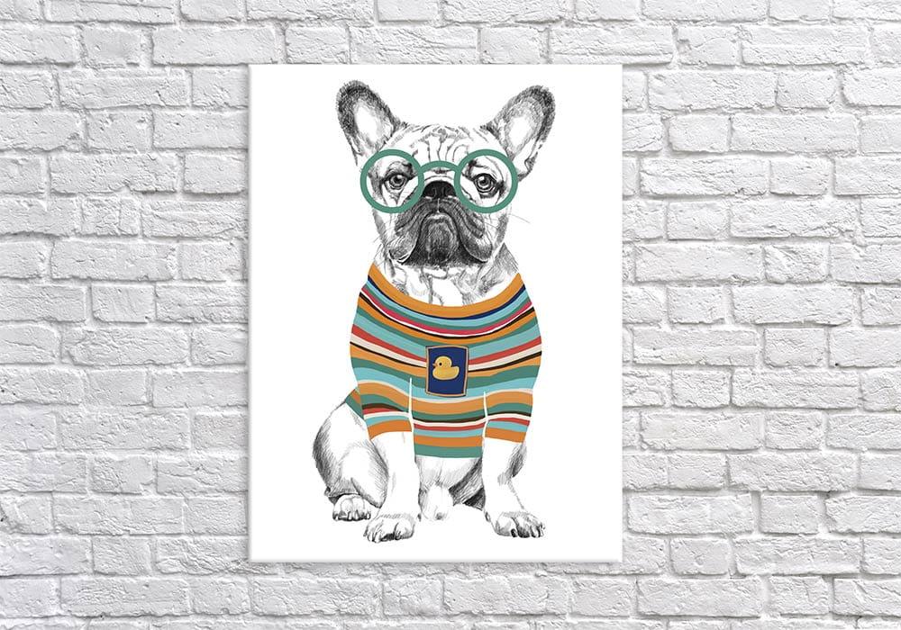 Obraz/ grafika na płótnie Buldog francuski w sweterku 80x60x2 cm 24