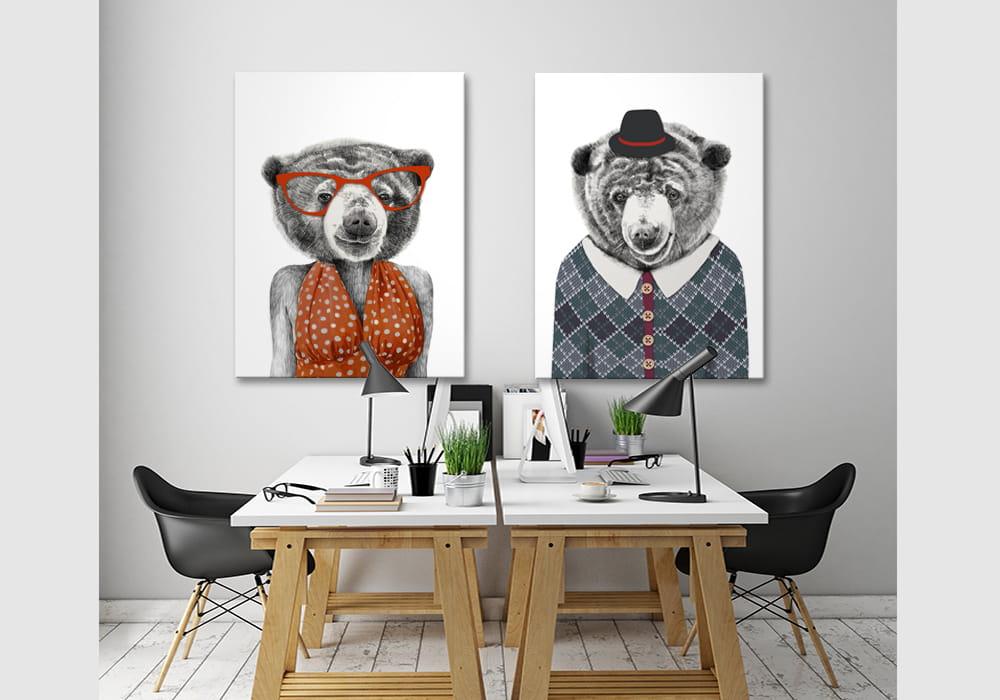 Obraz/ grafika na płótnie z motywem niedźwiedzia 80x60x2 cm 23
